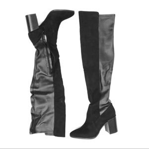 REPORT Black Over The Knee Heeled Boots